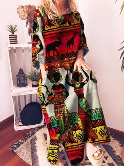Printed Casual Graphic Shift Crew Neck Dress