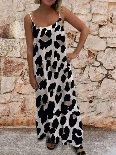 Leopard Casual Spaghetti-Strap Crew Neck Dresses