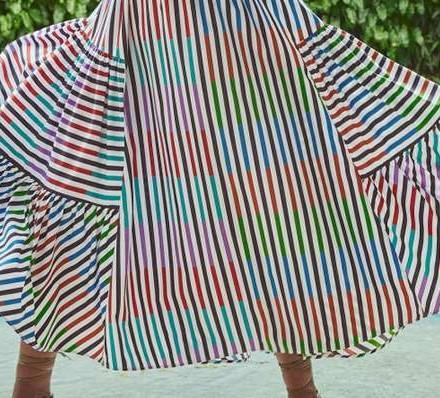 Fashion Stripe print V neck Sleeveless Skater Dresses