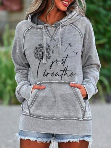 Floral Hoodie Long Sleeve Pockets Sweatshirt