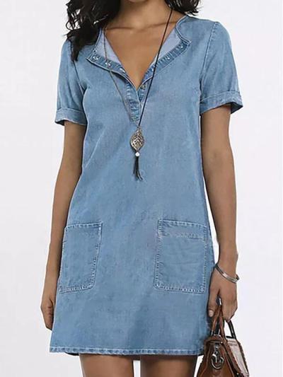 Blue Denim Short Sleeve Casual Pockets Solid Dresses