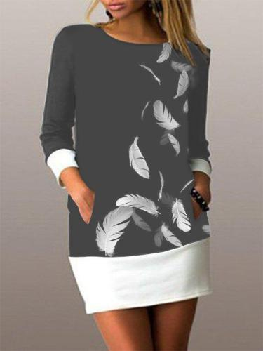 Black-White Printed Casual Long Sleeve Dresses