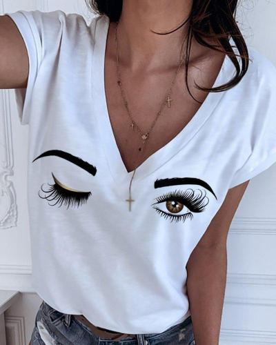 Casual Printed Short Sleeve V Neck Tops