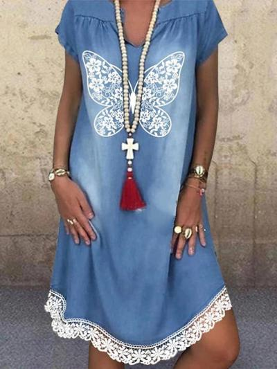 Blue Short Sleeve Butterfly Printed Animal Lace Dresses