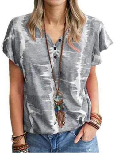 Stylish Print Fastener V neck Short sleeve T-Shirts