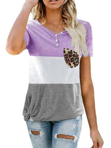 Loose casual printed top T-shirt with pocket Plus size T-shirts