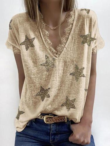 Summer V-neck printed lace T-shirts women star printed top