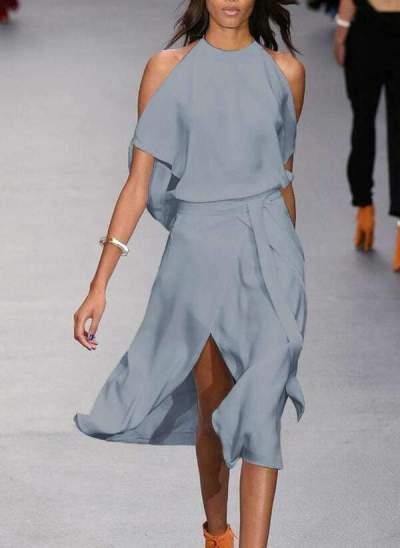 Sexy Fashion Pure Round neck Off shoulder Vent Skater Dresses