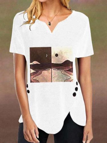 Fashion Landscape printing V neck Short sleeve T-Shirts