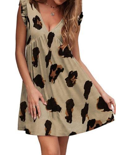 V neck leopard dress skater dresses sleeveless dress