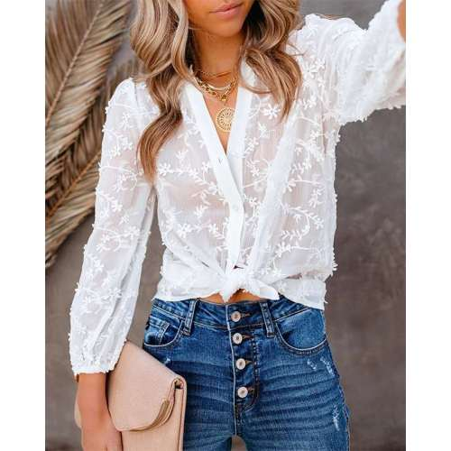 Fashion Pure Floral V neck Long sleeve Blouses