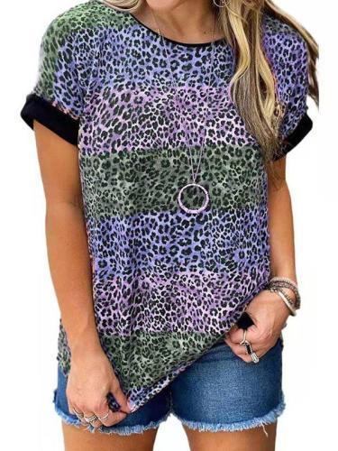 Leopard print round neck short sleeve T-shirts women top