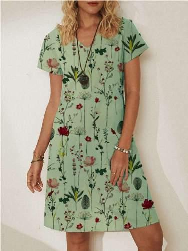 Stylish Floral print V neck Short sleeve Shift Dresses
