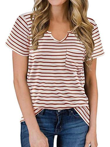 Casual Stripe print V neck Short sleeve T-Shirts