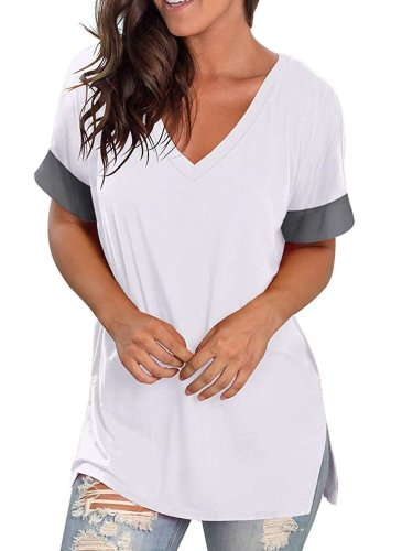 Fashion Gored V neck Short sleeve T-Shirts