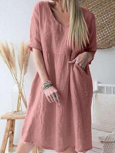 Casual Loose Pure V neck Three quarter sleeve Shift Dresses