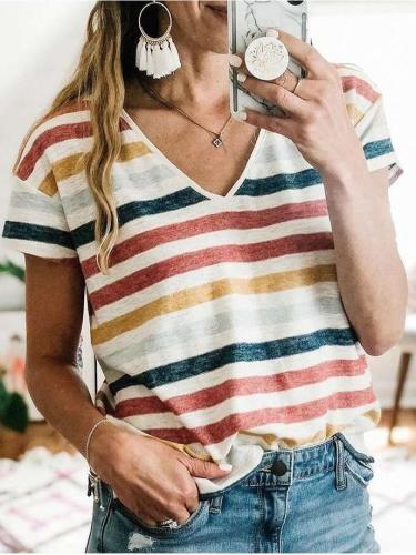 Fashion Stripe print V neck Short sleeve T-Shirts