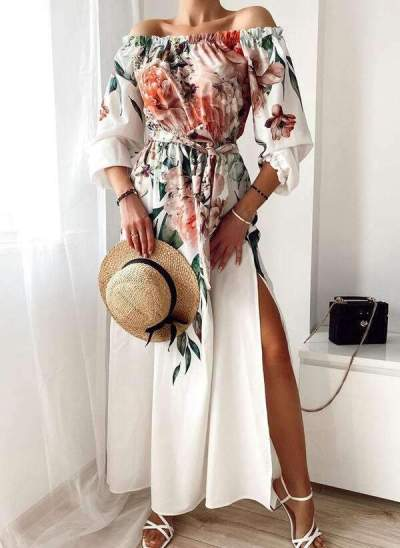 Casual Floral print One shoulder Long sleeve Vent Skater Dresses