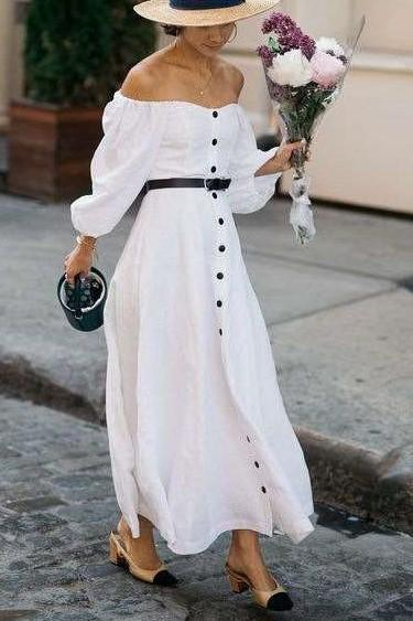 Casual Pure One shouder Long sleeve Fastener Maxi Dresses