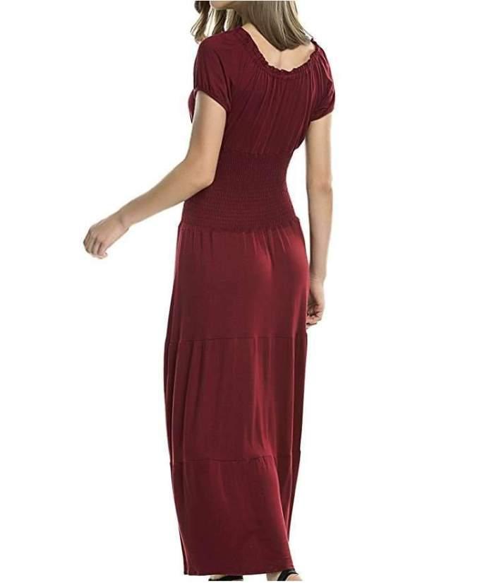 Fashion Pure Lacing Round neck Short sleeve Layered Maxi Dresses