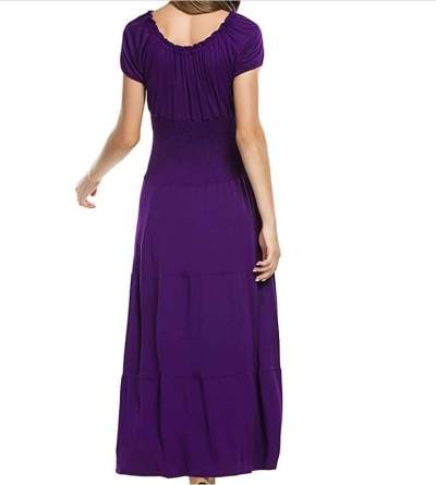 Fashion Pure Lacing Round neck Short sleeve Layered Maxi Dresses