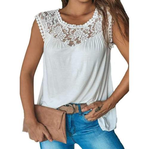 Casual Pure Lace Round neck Sleeveless T-Shirts