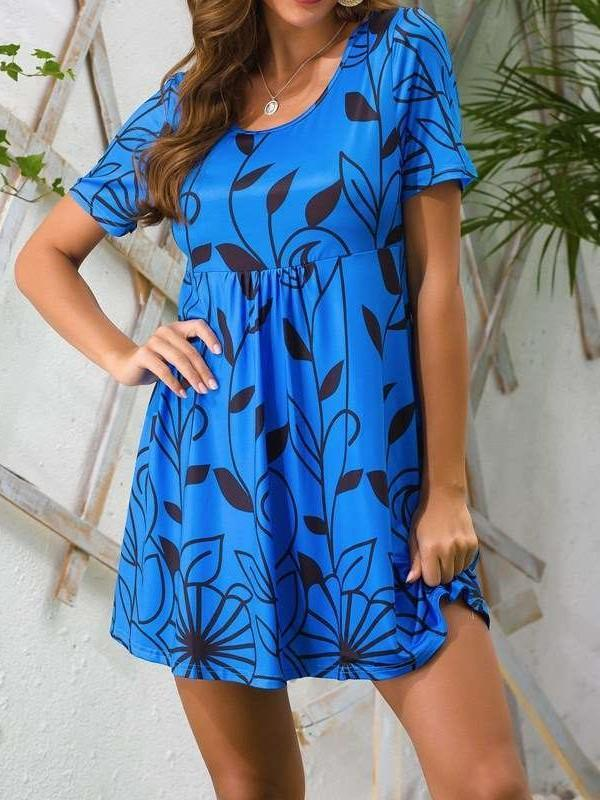 Casual Floral print Round neck Short sleeve Shift Dresses