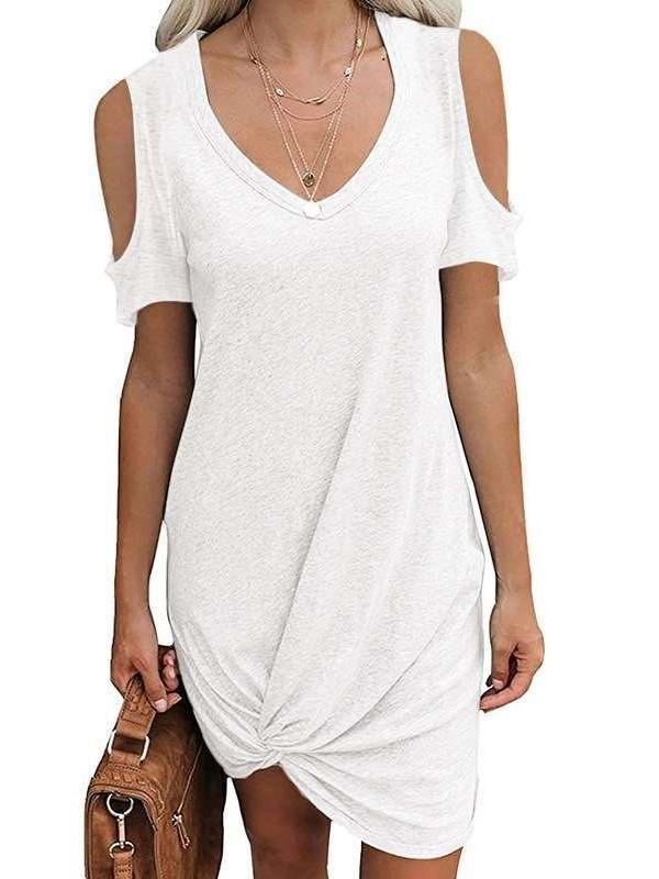 Casual Pure V neck Off shoulder Short sleeve Kink Shift Dresses