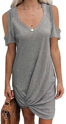 Casual Pure V neck Off shoulder Short sleeve Kink Shift Dresses