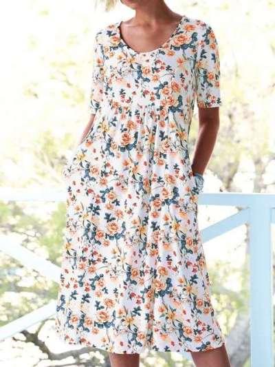 Fashion Floral print Round neck Short sleeve Shift Dresses