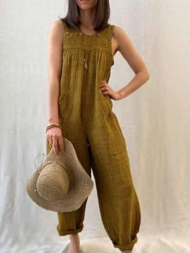 Casual Loose Pure Article pit Round neck Sleeveless Jumpsuits
