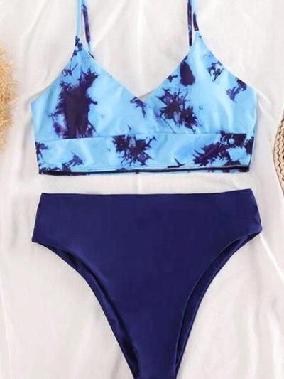 Women printed bikini two piceses v neck sexy swimwears