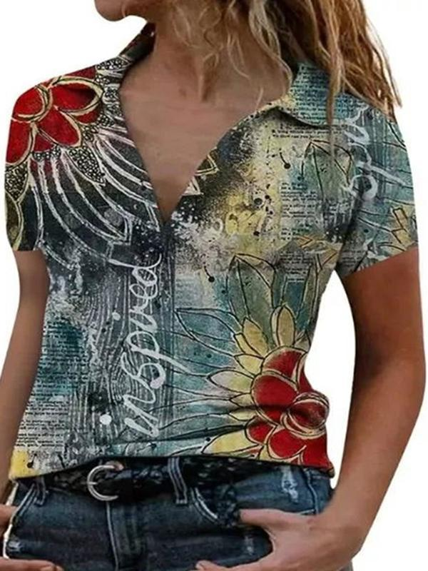 Summer Casual Printed lapel short sleeve loose shirt turn down neck blouse