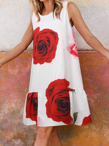 Casual Loose Floral print Round neck Sleeveless Shift Dresses