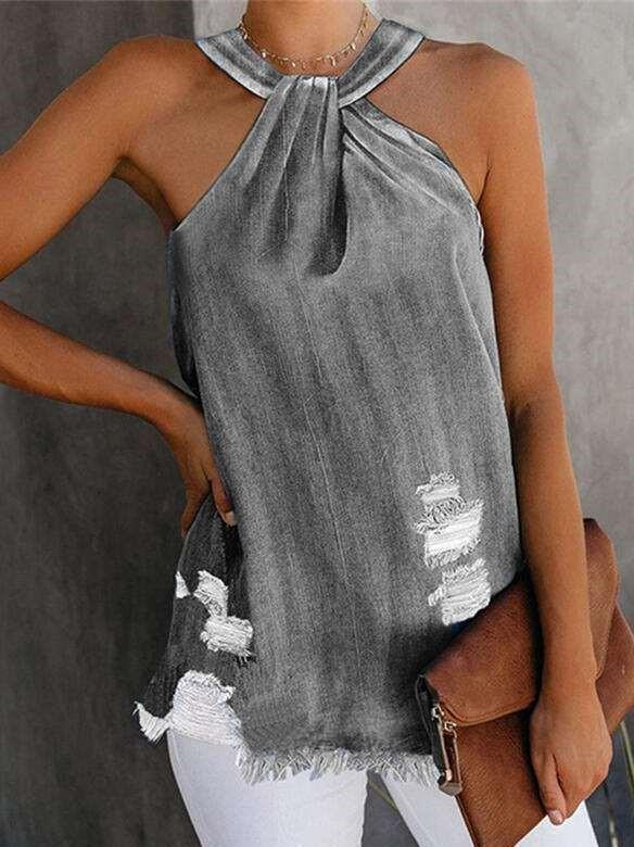 Fashion Pure Broken hole Jean Halter Vests