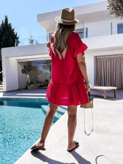 Casual Loose Pure V neck Short sleeve Gored Shift Dresses