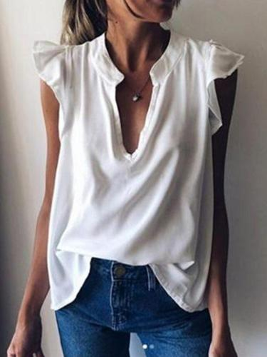 Summer new style stand-up collar short sleeve solid color casual T-shirts chiffon shirts
