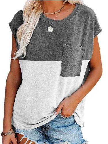 Casual Loose Gored Pocket Round neck Short sleeve T-Shirts