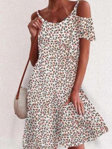 Fashion Floral print Round neck Vest Off shoulder Short sleeve Shift Dresses