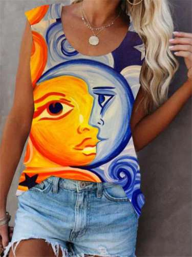 Casual  Abstract printing Round neck Sleeveless T-Shirts