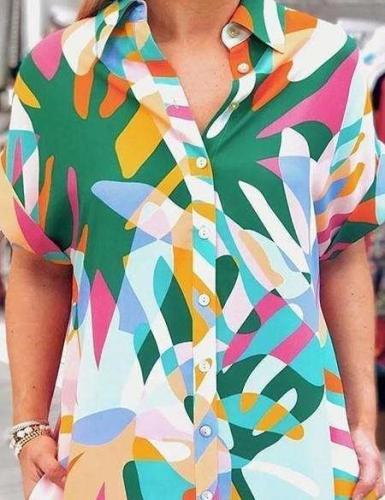 Casual Loose Abstract printing Lapel Short sleeve Shirt Shift Dresses