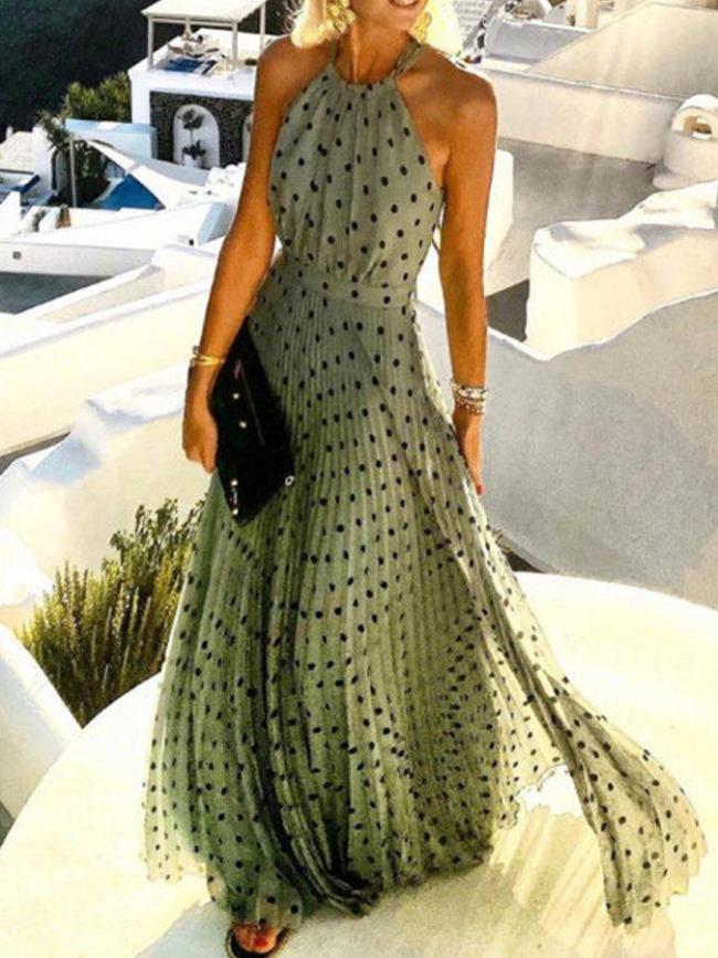 Sleeveless Vintage Wave Point Printed Maxi Dresses