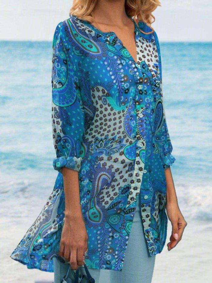 Geometric Printed Casual Loose Plus Size Chiffon Blouse Shirts