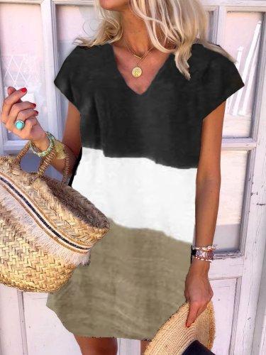 New Women Chic Plus Size Holiday Boho Vintage V Neck Short Sleeve Casual Shift Dresses