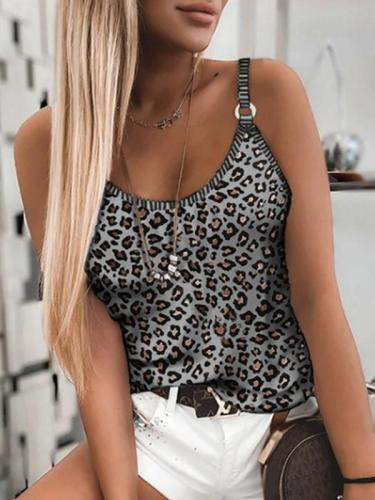 Sexy leopard printed rouned neck women vests