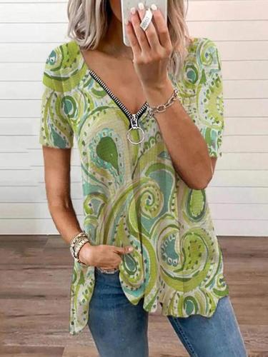 Zipper design women printed fashion v neck T-shirts