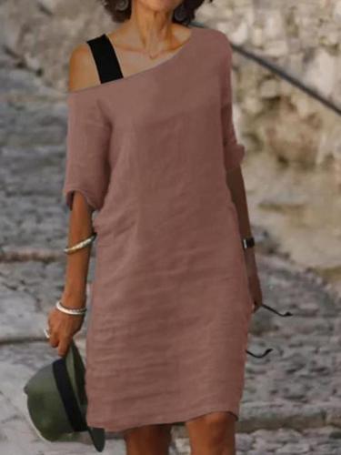 One off shoulder Women plain long mini dress shift dresses