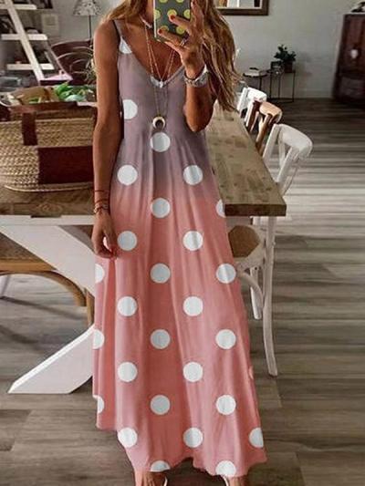 Women v neck wave point printed sleeveless maxi dresses