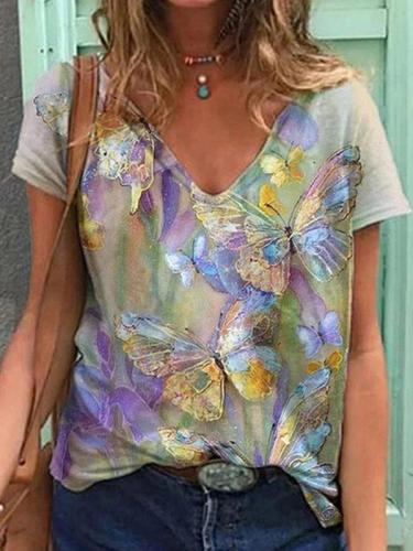 Stylish top women v neck butterfly printed short sleeve T-shirts