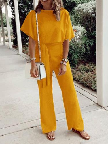 Solid women round neck long jumpsuits for summer